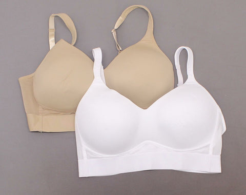 Rhonda Shear 2 Pack Molded Cup Bras With Mesh Back Detail White/ Nude Plus 1X
