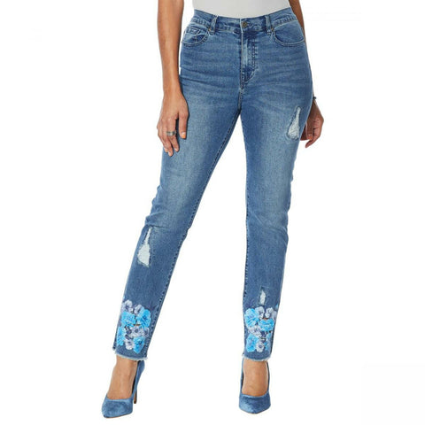 DG2 by Diane Gilman Women's Plus Size Stretch Floral Fray Hem Ankle Jeans