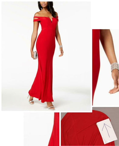 Xscape Women's Cold-Shoulder Gown. 408X Red 4