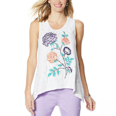 DG2 by Diane Gilman Women's Plus Size Embroidered Lace Front Tank Top