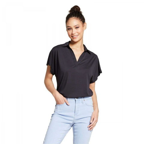 Mossimo Women's Modal Y-Neck Short Sleeve Relaxed Polo Shirt
