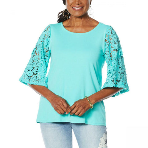 DG2 by Diane Gilman Women's Plus Size Lace Sleeve Top
