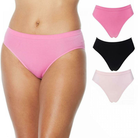 Rhonda Shear Women's 3 Pack Ahh Seamless Brief Panties Pinks Medium
