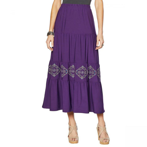 Antthony Women's Elda Collection Embroidered Tiered Maxi Skirt