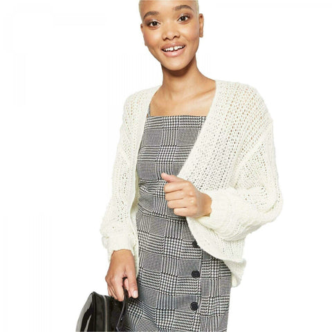Wild Fable Women's Crop Cardigan Sweater with Billow Poet Sleeves