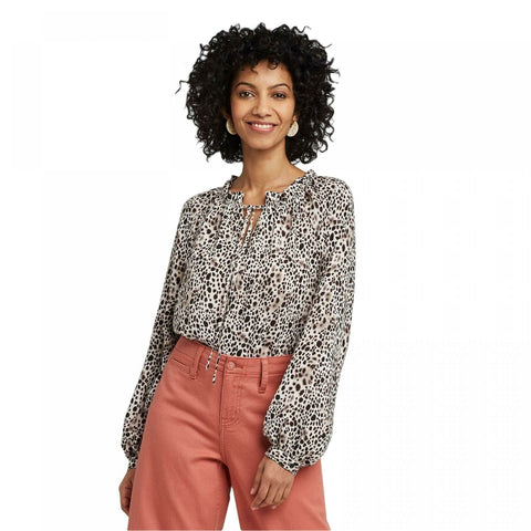 A New Day Women's Slim Fit Leopard Print Bishop Long Sleeve Blouse