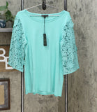 DG2 by Diane Gilman Lace Half Sleeve Knit Top