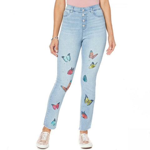 DG2 by Diane Gilman Women's Embroidered Pull On Stretch Denim Ankle Jeans