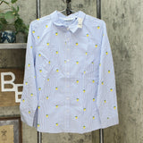 Lemon Way Women's 365 Poplin Stretch Embroidered Button Down Shirt