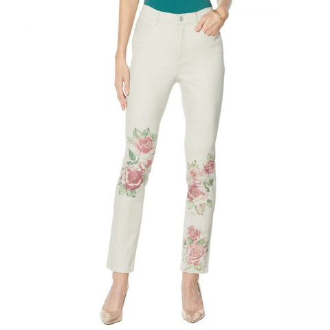 DG2 by Diane Gilman Women's Petite Classic Stretch Artwork Printed Jeans