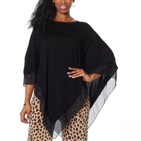 IMAN Women's Plus Size City Chic Sweater Knit Poncho With Chiffon Trim