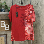 DG2 by Diane Gilman Women's Mixed Media Embroidered Front Seam Blouse