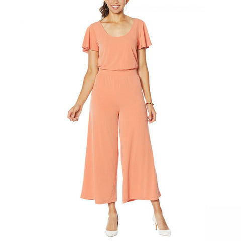 G by Giuliana Women's Flutter Sleeve Cropped Wide Leg Jumpsuit