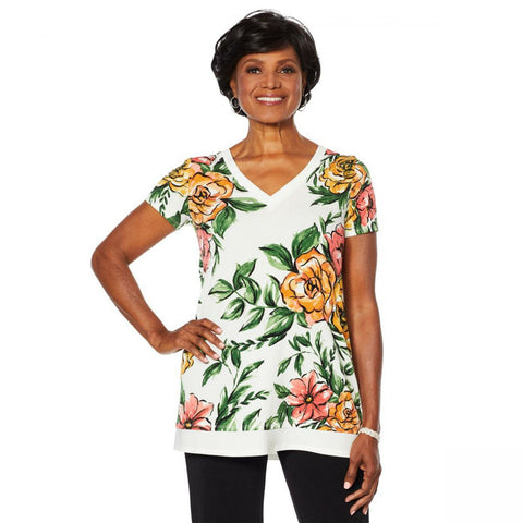 Nina Leonard Women's Printed Miracle Matte Tunic With Solid Trim