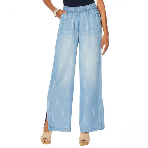 DG2 by Diane Gilman Women's Side-Slit Wide Leg Pants