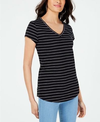 Maison Jules Womens Striped V-Neck Top Shirt. 100054091MS Black / White XL