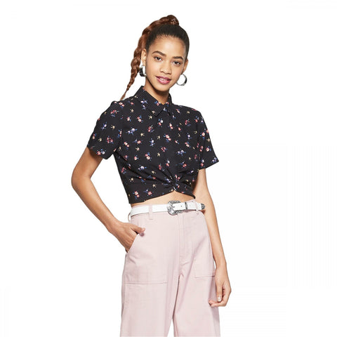 Wild Fable Women's Short Sleeve Twist Front Floral Button-Down Shirt Top