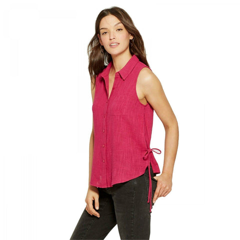 Universal Thread Women's Side Tie Button Front Sleeveless Blouse