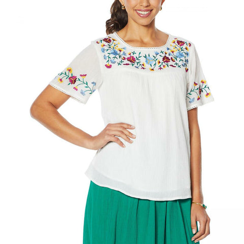 Antthony Women's Mexicali Lined Folkloric Embroidered Top