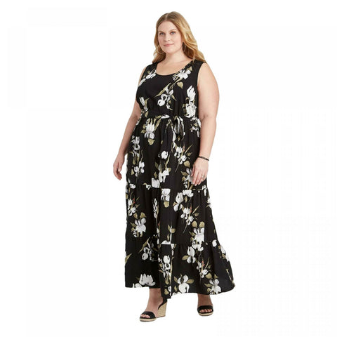 Ava & Viv Women's Plus Size Floral Sleeveless Tiered Maxi Dress