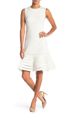 Calvin Klein Women's Ladder Lace Trim Flair Sheath Dress. CD8C19MG White 6