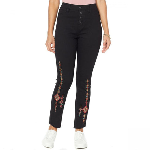 DG2 by Diane Gilman Women's Plus Size Embroidered Pull On Exposed Button Jeans