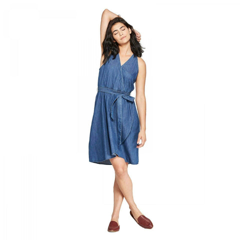 Universal Thread Women's Sleeveless V-Neck Denim Wrap Dress