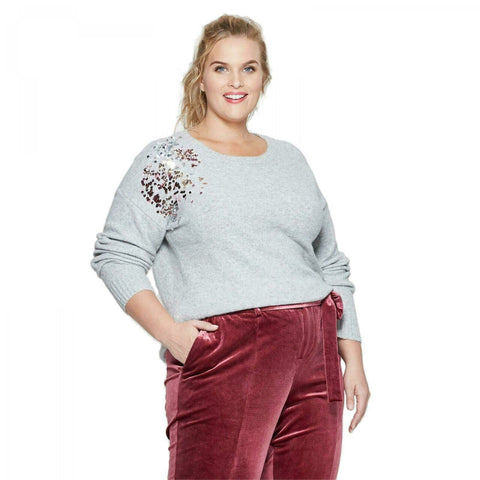 Ava & Viv Women's Plus Size Placed Sequin Long Sleeve Pullover Sweater