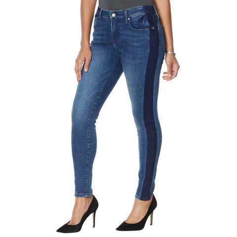 Colleen Lopez Women's Petite Side Stripe Skinny Jeans