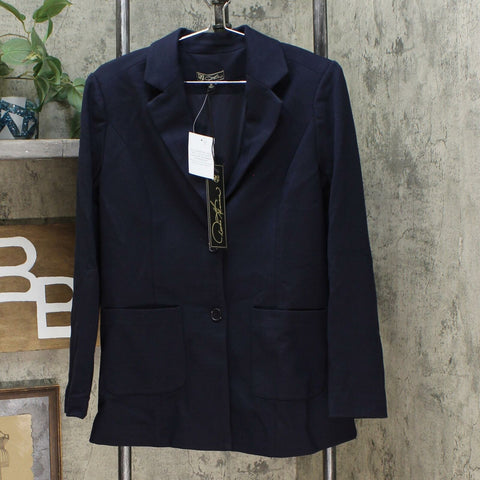 DG2 by Diane Gilman Women's Classic Ponte Blazer Jacket Navy Medium