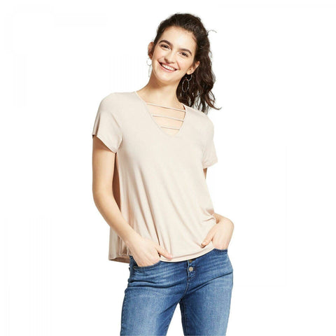 Mossimo Women's Short Sleeve Flowy T-Shirt with Strappy Neck Detail