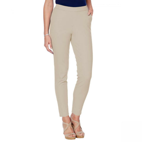 Lemon Way Women's Petite Flawless Twill Pull On Ankle Pants