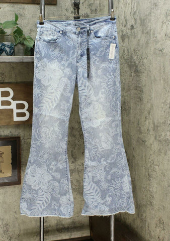 DG2 by Diane Gilman Classic Stretch Printed Flare Jeans Chambray 12