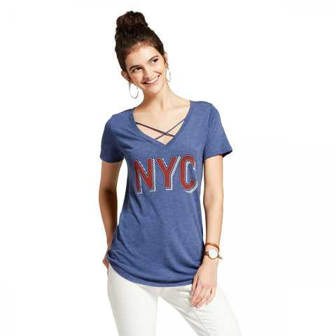 Awake Women's NYC Marquee Short Sleeve Cross Front Drapey Graphic T-Shirt