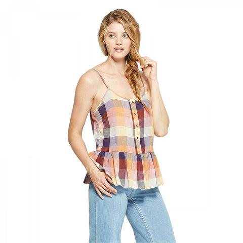 Universal Thread Women's Drop Waist Plaid Button Front Tank