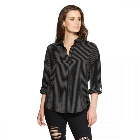 Universal Thread Women's Striped Long Sleeve Popover Flannel Shirt Top