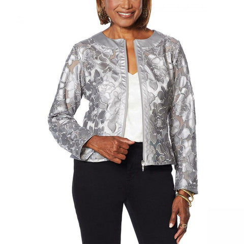 Colleen Lopez Women's Best Dressed Faux Leather And Mesh Jacket