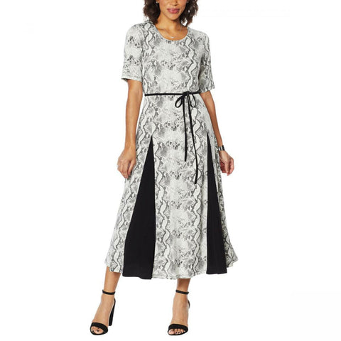Nina Leonard Women's Nicole Belted Midi Dress With Godet Detail