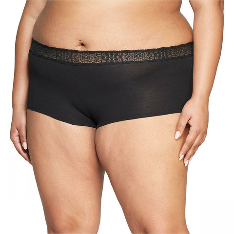 Auden Women's Plus Size Cotton Boyshort with Lace Waistband