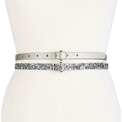 INC International Concepts Women's Set of 2 Reversible Glitter and Lace Skinny Belts