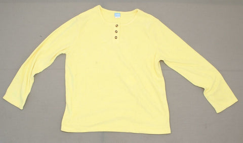 Comfort Corner Women's Fleece Button Henley Pullover Yellow Large
