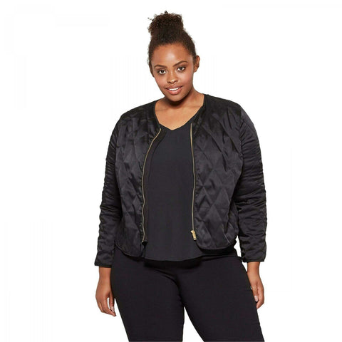 Ava & Viv Women's Plus Size Quilted Bomber Jacket