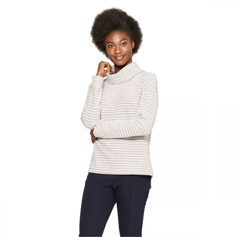 A New Day Women's Long Sleeve Striped Cozy Cowl Neck Top Shirt