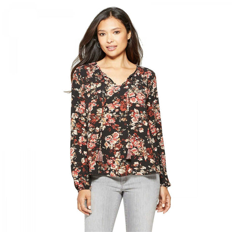 Knox Rose Women's Floral Print Long Sleeve Peasant Top