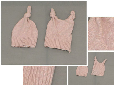 ZUZIFY LOT OF 2 Baby Handmade Sweater Knit Top Knot Beanie Hat Mauve Pink