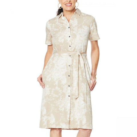 DG2 by Diane Gilman Women's Printed SoftCell Chambray Duster Dress
