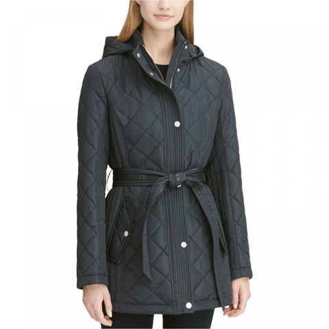 DKNY Women's Belted Waterproof Quilted Coat