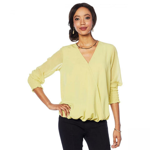 DG2 by Diane Gilman Women's Drape V-Neck Top With Sheer Sleeves