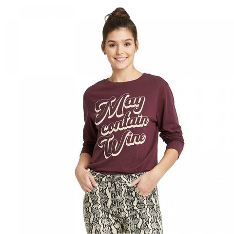 Zoe + Liv Women's May Contain Wine Long Sleeve Graphic T-Shirt