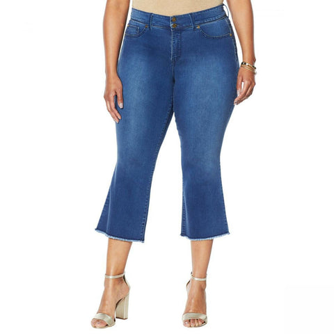 IMAN Women's Plus Size Global Chic Luxury Resort 360 Slimming Crop Jeans